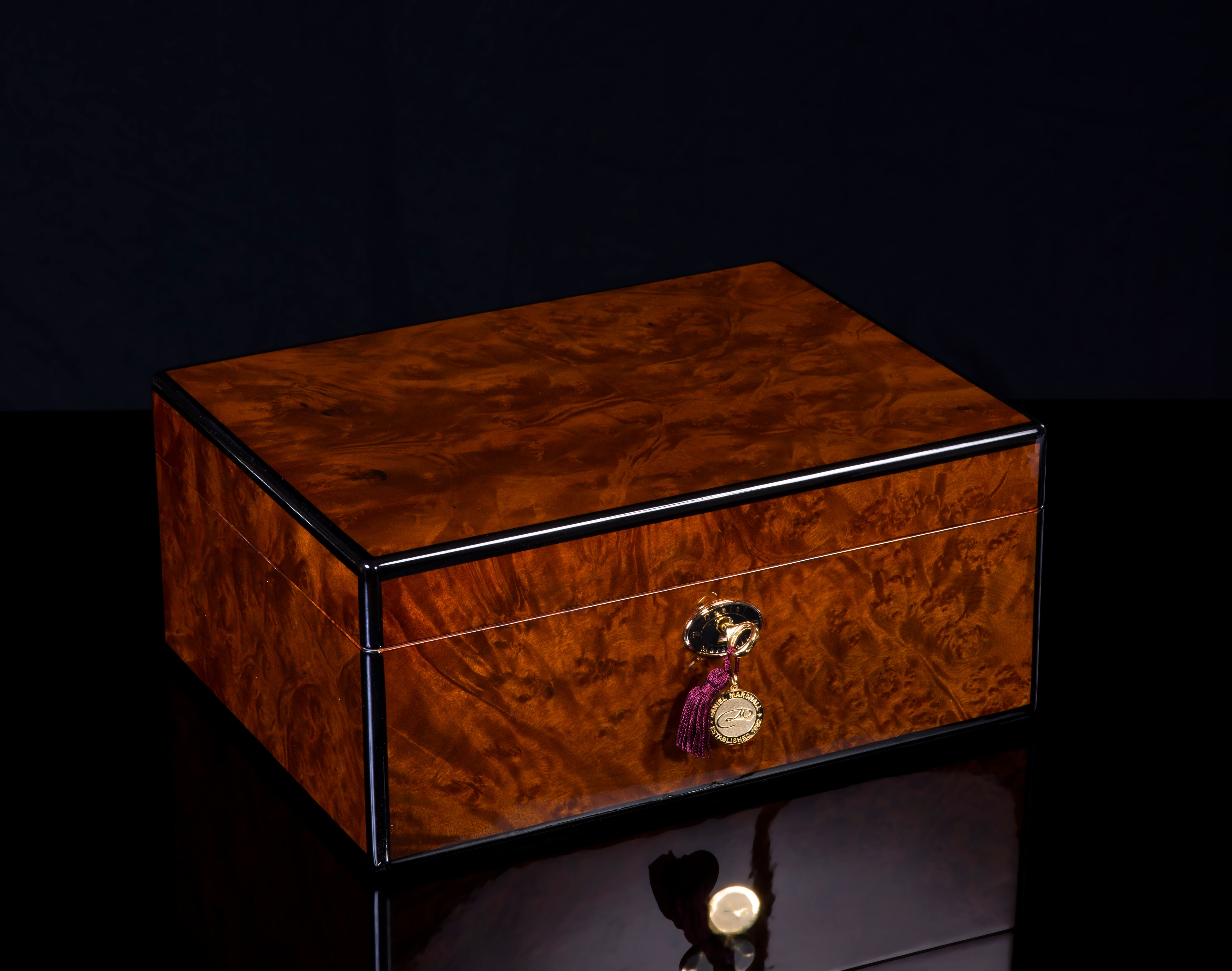 Precious Burl signature daniel marshall cigar humidor 30100