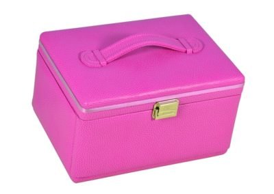 jewelry box leather ladies women luxury pink silk