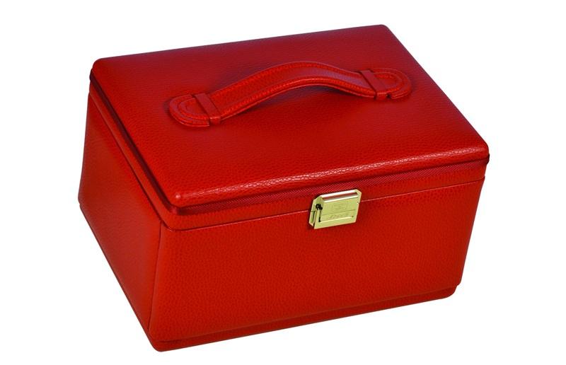 jewelry box leather ladies women luxury red